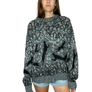 Vintage Panther Print GRAY Bay Trading Co. Sweater